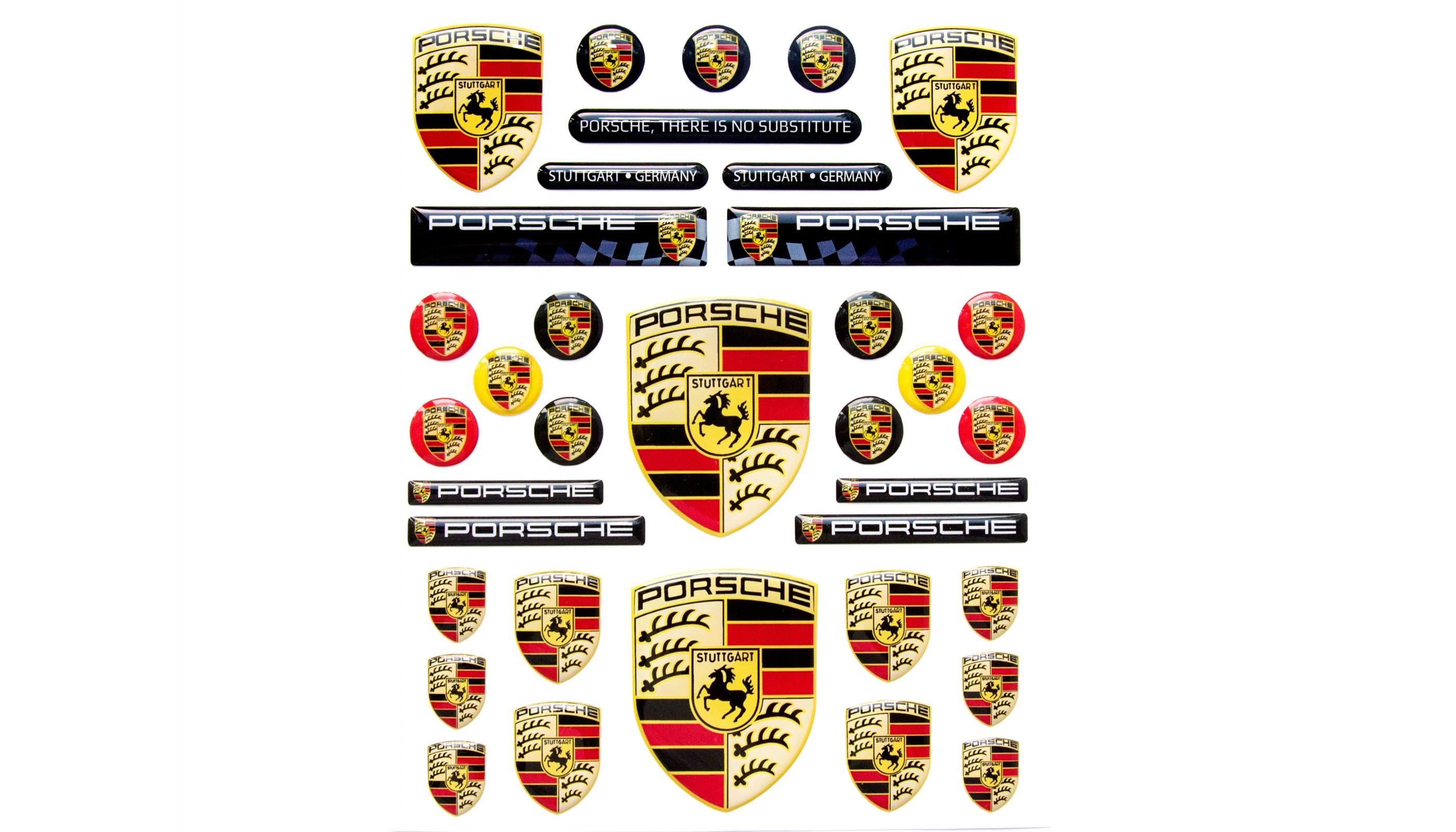 Porsche 3d Domed Stickers Set