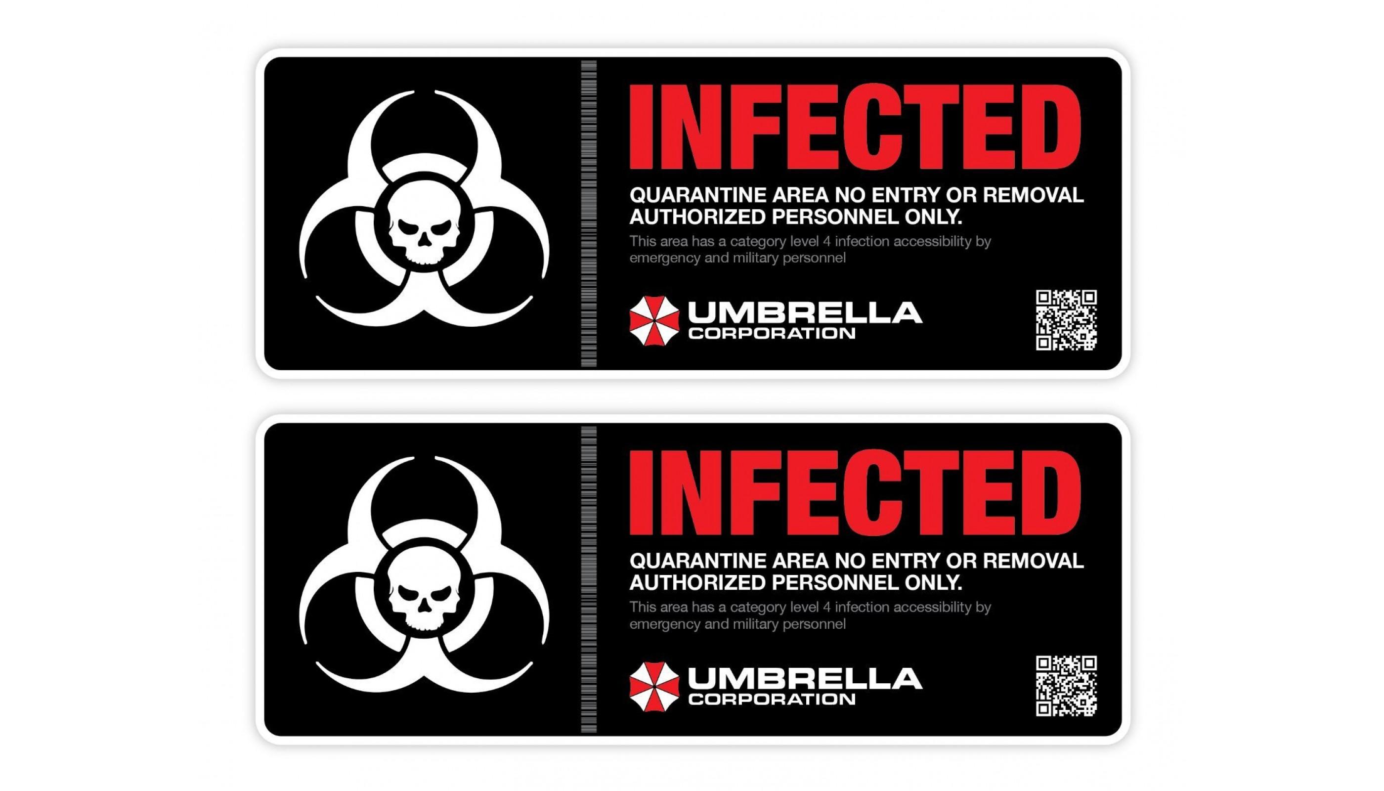 Umbrella Corp Resident Evil Infected Biohazardl Vinyl Sticker