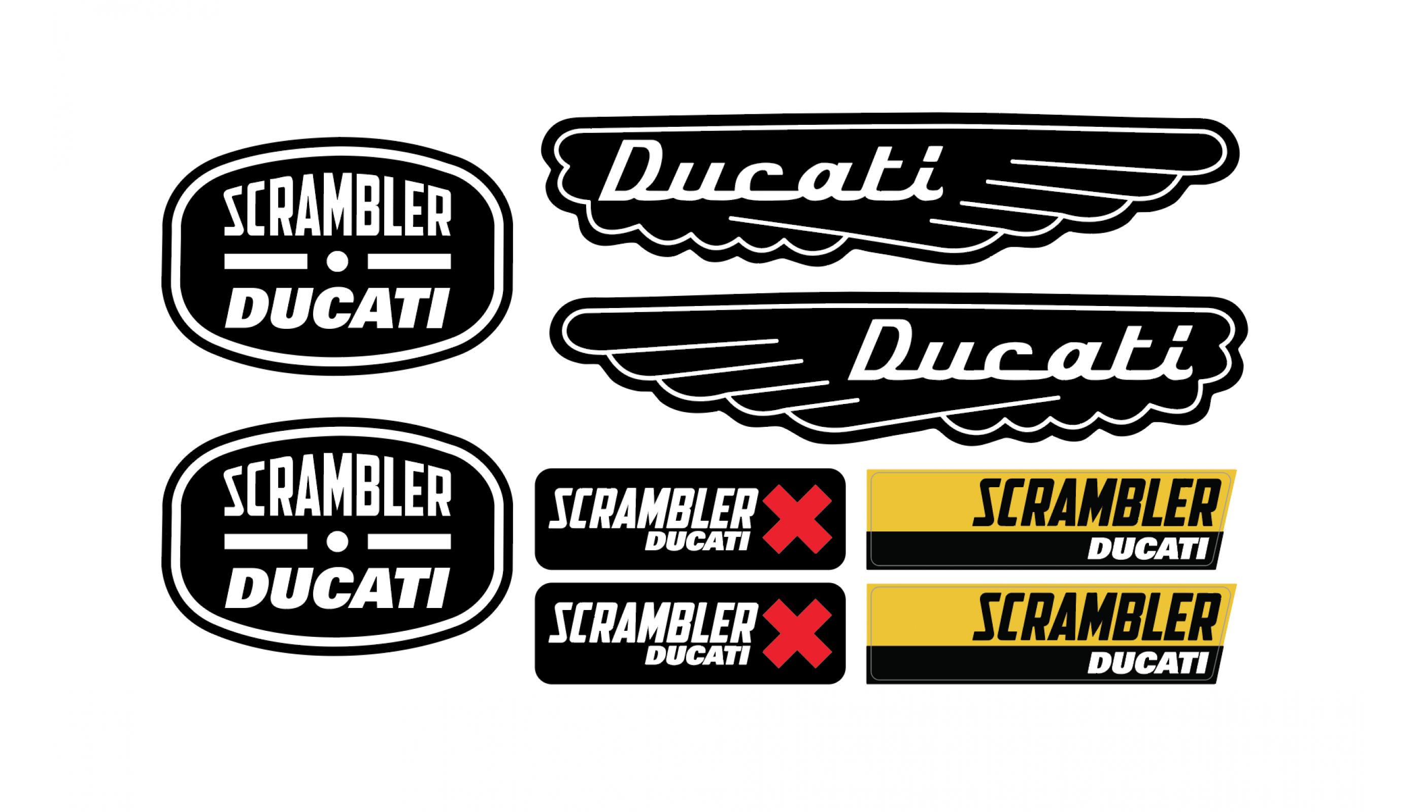 Ducati Scrambler 3d Domed Big Sticker Emblem Set