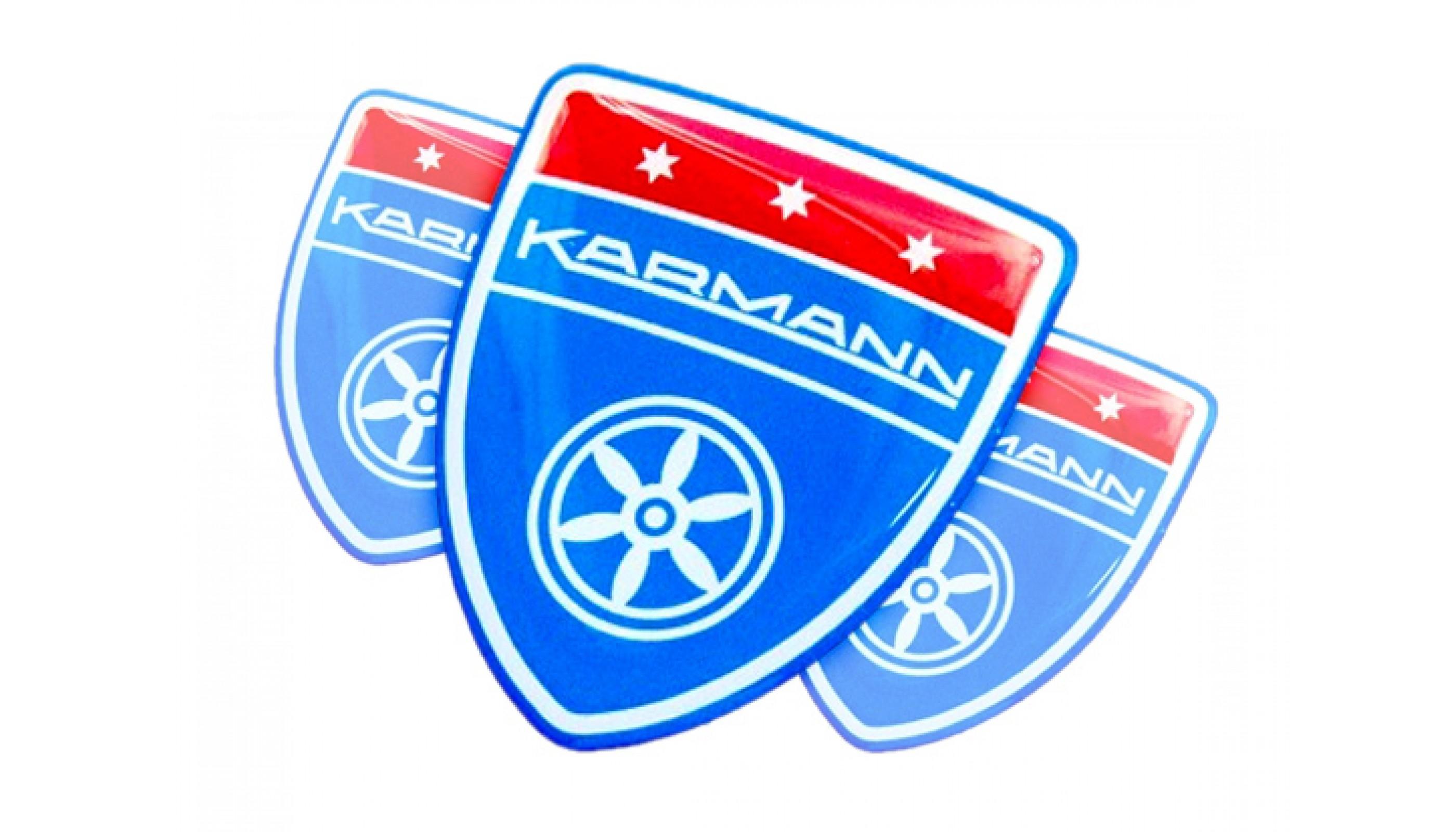 Karmann Blue Domed Emblems 3pcs