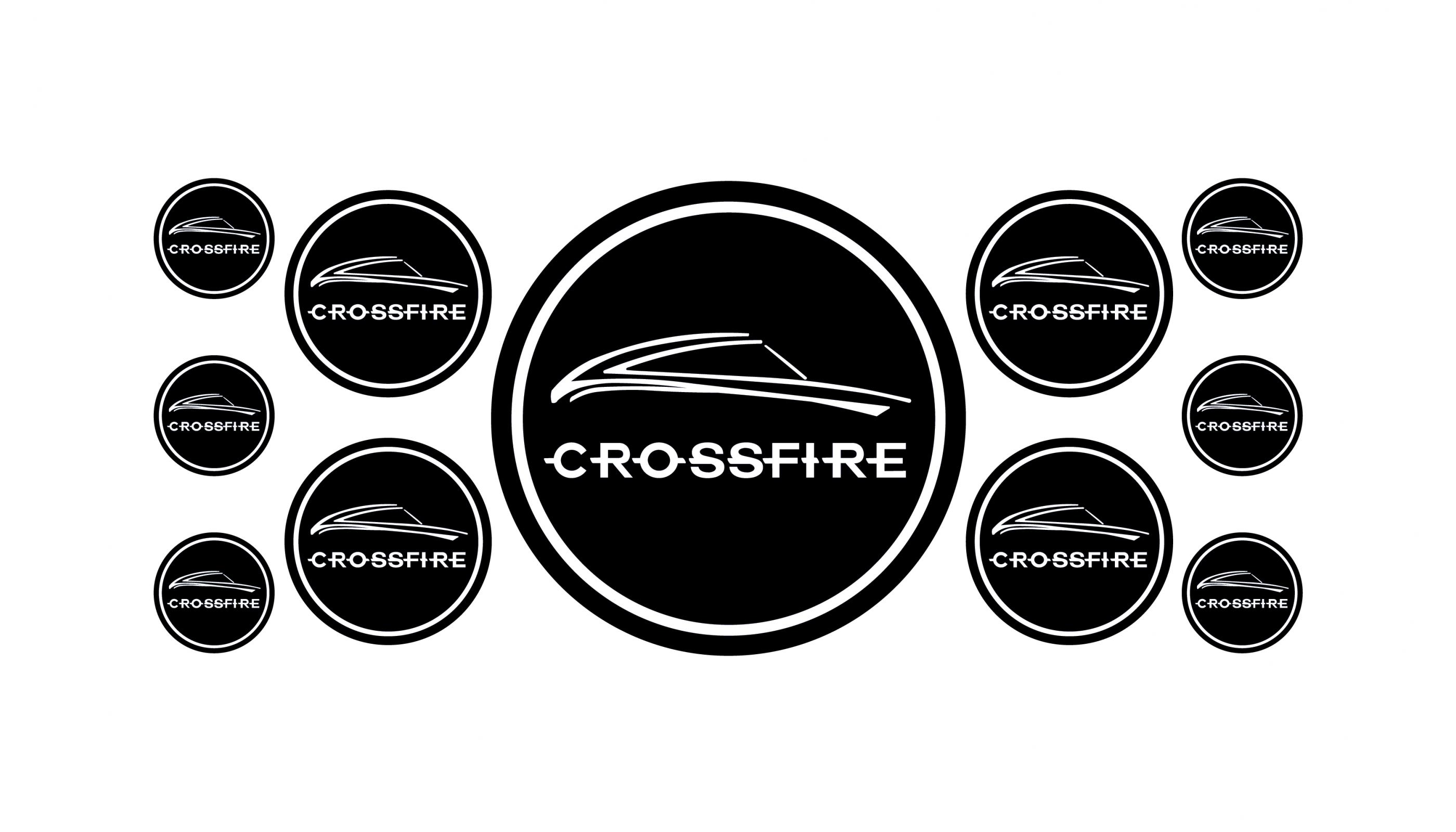 Crossfire black domed emblems
