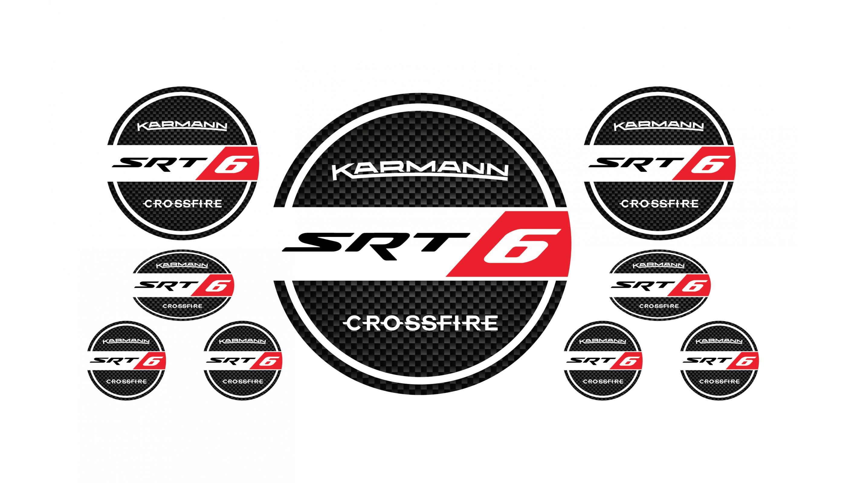 Crossfire SRT6 round domed emblems set