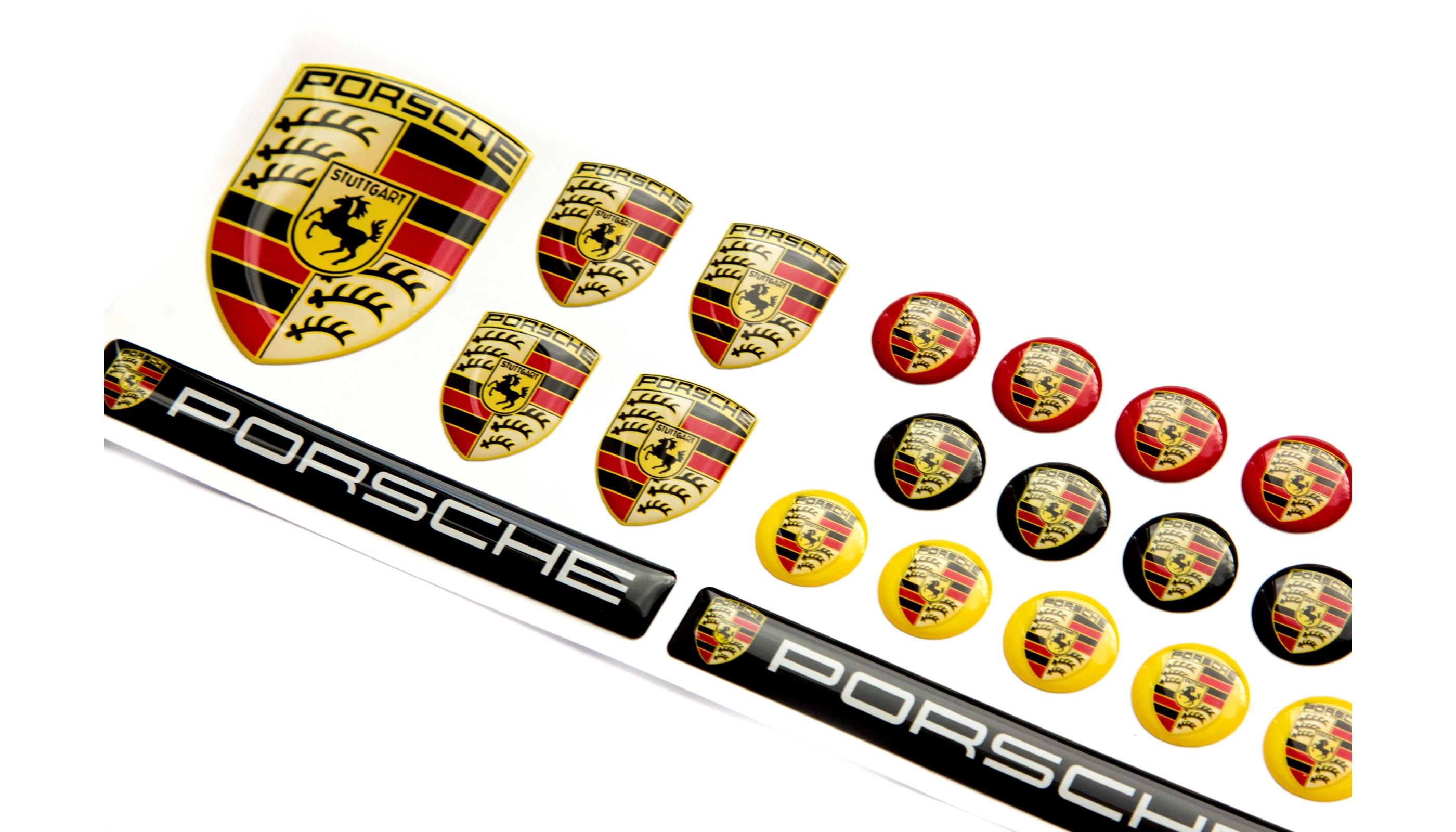 Porsche Domed Emblems Big Set