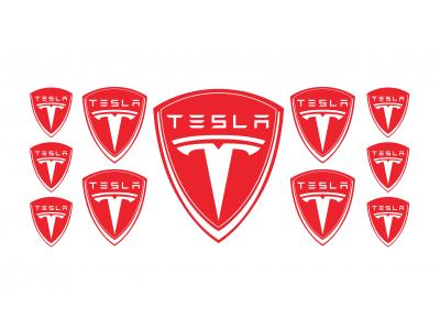 Tesla red domed emblems