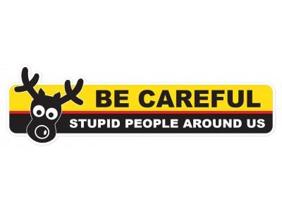Be Careful - Stupid People - warning vinyl sticker